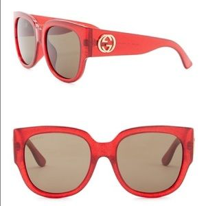 GUCCI • Square Glitter Sunglasses • Red • NWT
